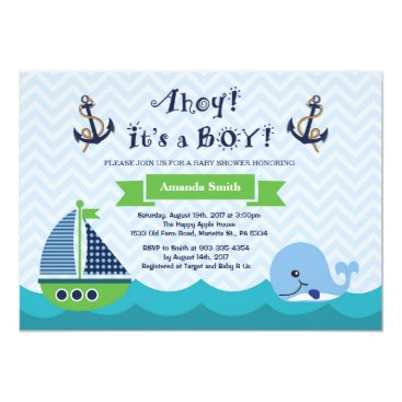 Beach Themed Nautical Baby Shower Invitation Navy Gree and Blue