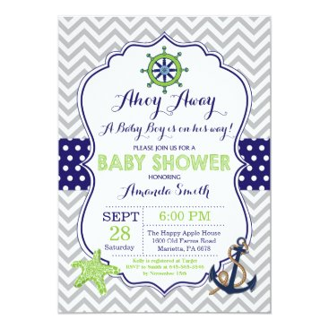 Beach Themed Nautical Baby Shower Invitation Navy Green Gray