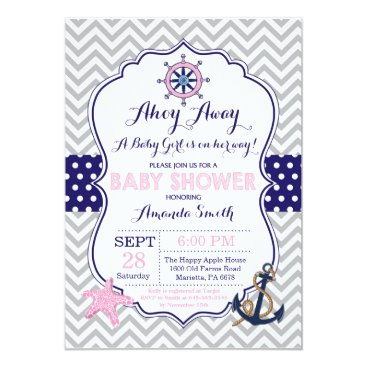 Beach Themed Nautical Baby Shower Invitation Navy Pink Gray