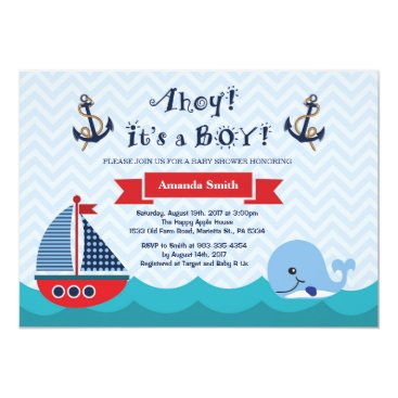 Beach Themed Nautical Baby Shower Invitation Navy Red and Blue