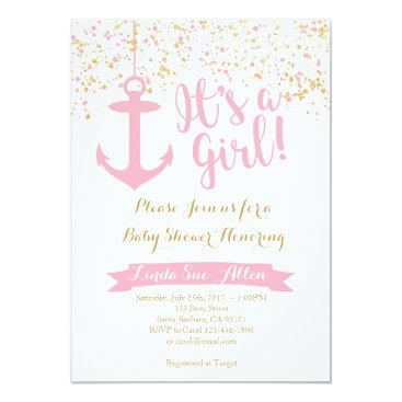 Beach Themed Nautical Baby Shower Invitation- Pink and Gold Card
