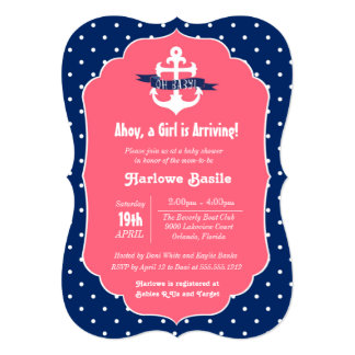 "Nautical Baby Shower Invitation, Pink Blue Girl 5"" X 7"" Invitation Card"