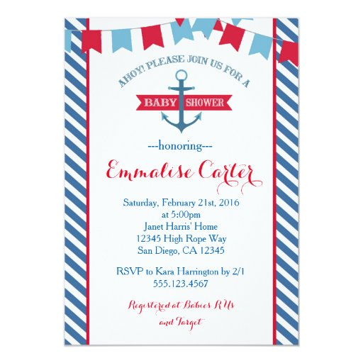 Nautical Baby Shower Invitation Red and Blue