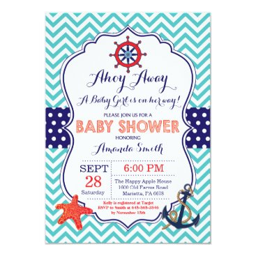Beach Themed Nautical Baby Shower Invitation Teal Navy Blue Red