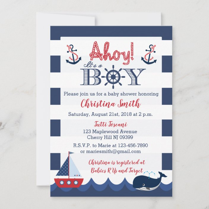 Nautical Invitation Bridal Shower Baby Shower 50 Custom Invitations or 50 Thank You Notes 4x6 or 5 x7 Inches Customized Invitations BDS364