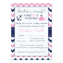 Nautical Baby Shower Invitations for a Girl
