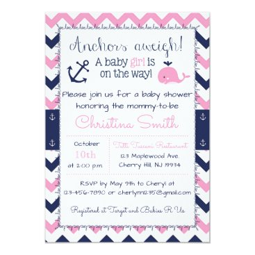 Toddler & Baby themed Nautical Baby Shower Invitations for a Girl