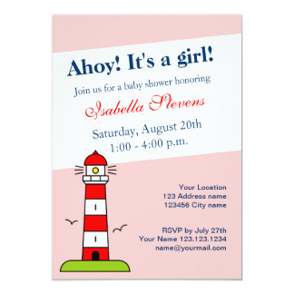 Nautical baby shower invitations | lighthouse