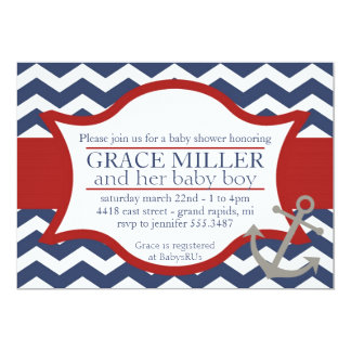 Nautical Baby Shower Invite. Navy blue and red. Card