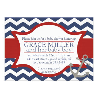 Nautical Baby Shower Invite Navy blue and red