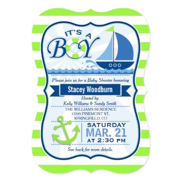 Toddler & Baby themed Nautical Baby Shower; Lime Green & Blue Card
