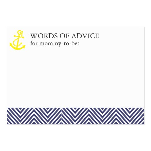 Nautical Baby Shower Mommy Advice Cards Business Cards