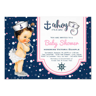 Nautical Baby Shower Pink Navy Blue Nautical Card