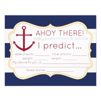 Nautical Baby Shower Predictions Advice Card