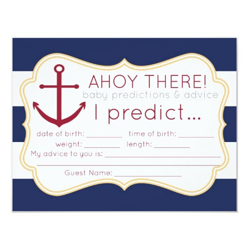"Nautical Baby Shower Predictions & Advice Card 4.25"" X 5.5"" Invitation Card"