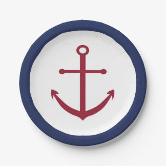 Nautical Baby Shower Red Anchor Paper Plate 7 Inch Paper Plate