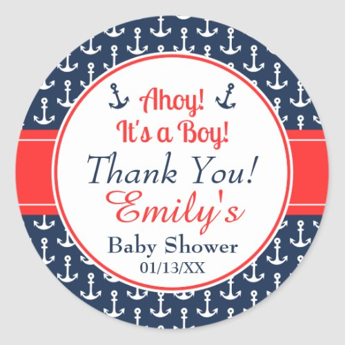 Nautical Baby Shower Stickers _ Boy