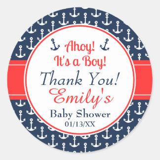 Nautical Baby Shower Stickers   Boy
