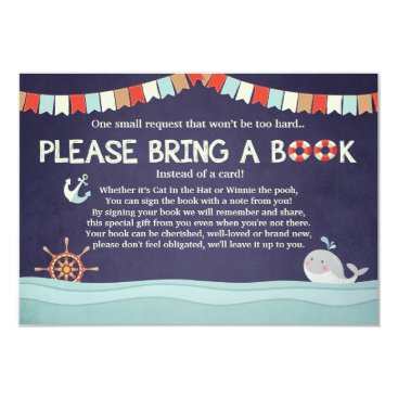 Toddler & Baby themed Nautical Baby shower Whale Ocean Bring a Book card