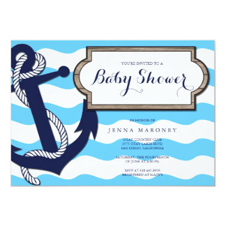 Nautical Baby Shower with Anchor Invitation