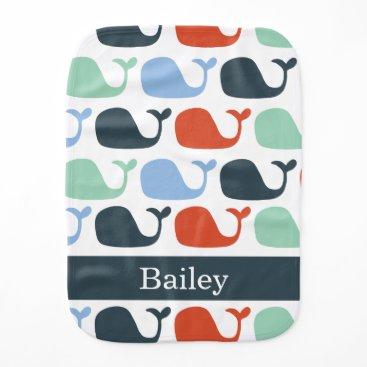 Beach Themed Nautical Baby Whale Burp Cloth