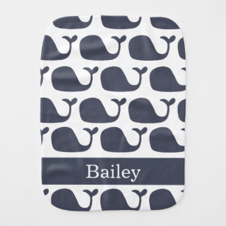 Nautical Baby Whale Burp Cloth