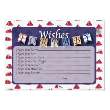 Beach Themed Nautical Baby Wishes & Bring a Book Card 2 in 1!