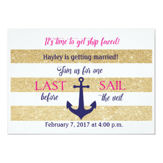 Nautical Bachelorette Party Invite- Last Sail Card