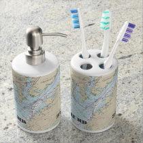 Nautical Baltimore Latitude & Longitude Soap Dispenser & Toothbrush Holder