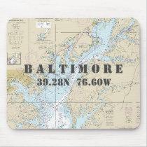Nautical Baltimore Maryland Latitude Longitude Mouse Pad