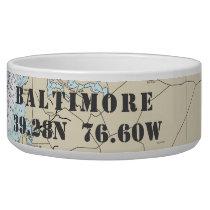 Nautical Baltimore MD Latitude Longitude Bowl