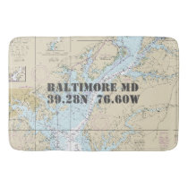 Nautical Baltimore MD Longitude Latitude Chart Bathroom Mat