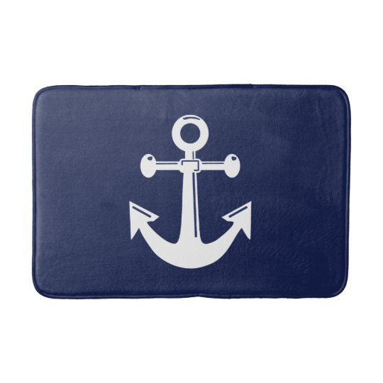 Anchor Bathroom Rug: Nautical Bath Mat Navy Blue And White Anchor