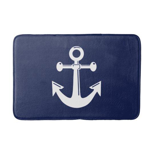 Nautical Bath Mat Navy Blue And White Anchor Zazzle Com