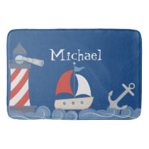 Nautical Bath Mat Personalized