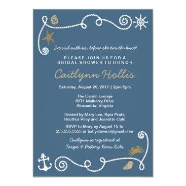 Beach Themed Nautical Beach Blue and Gold Bridal or Baby Shower Card