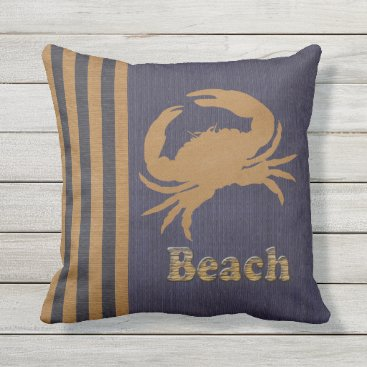 Beach Themed Nautical Beach, Blue & Tan Stripes with a Crab Outdoor Pillow