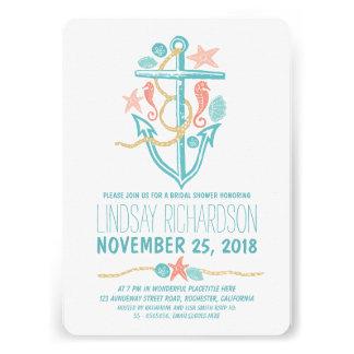 Nautical beach bridal shower invitations custom announcement