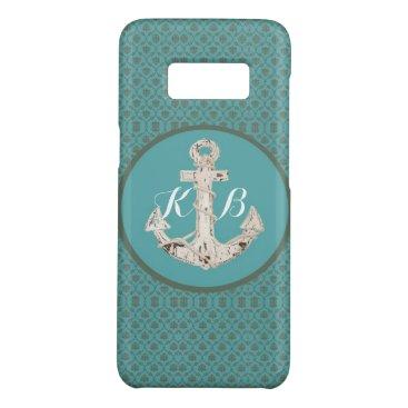Beach Themed nautical beach coastal chic teal damask anchor Case-Mate samsung galaxy s8 case