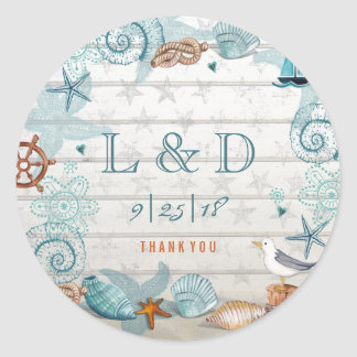 Nautical Beach Customizable Wedding Sticker Round