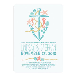 Nautical beach engagement party invitations