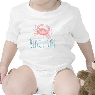 Nautical Beach Girl with Crab T Shirt