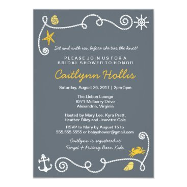 Beach Themed Nautical Beach Grey & Yellow Bridal or Baby Shower Card