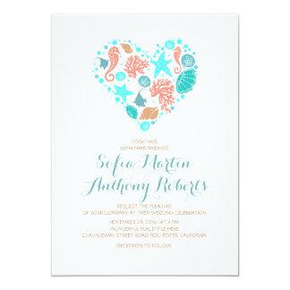 Nautical Beach Heart - Ocean Treasures Wedding Card