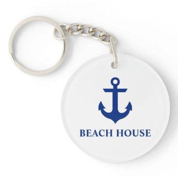 Beach Themed Nautical Beach House Anchor Blue Keychain