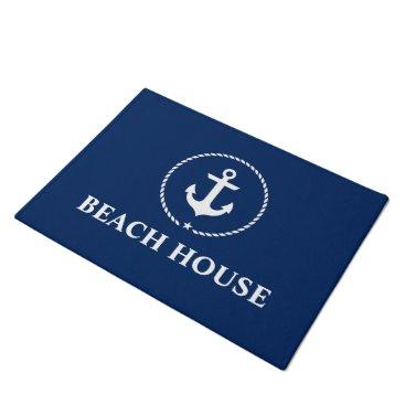 Beach Themed Nautical Beach House Anchor Rope Navy Blue Doormat