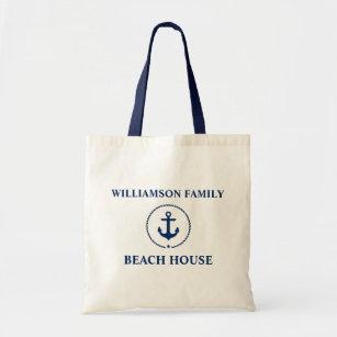 Nautical Beach House Blue Anchor Family Name Tote Bag