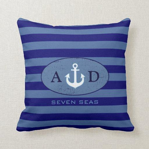 Nautical Design Throw Pillows : nautical beach house decor personalized throw pillow Zazzle