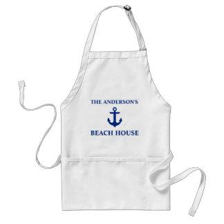 Nautical Beach House Family Name Anchor Adult Apron