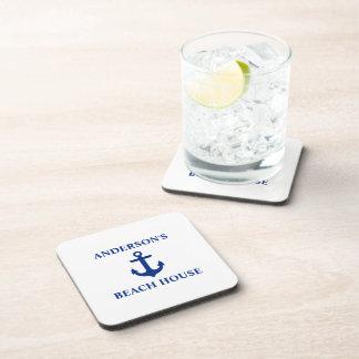 Nautical Beach House Family Name Anchor Beverage Coaster